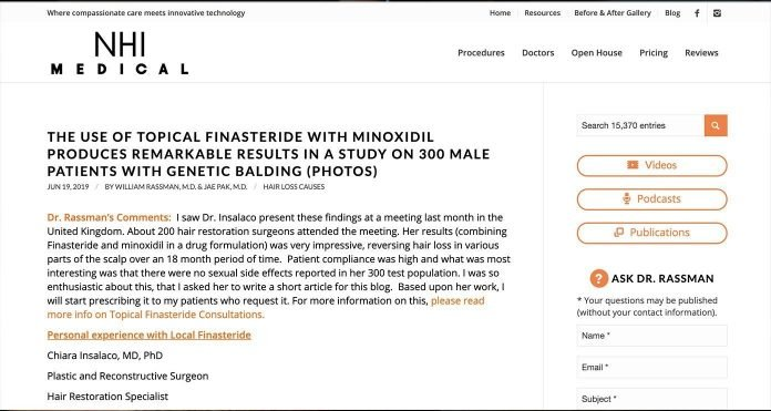 studi finasteride topica e minoxidil